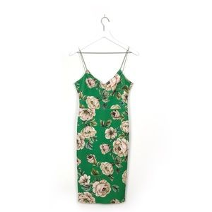 Asos | Green Floral Spaghetti Strap Scuba Dress